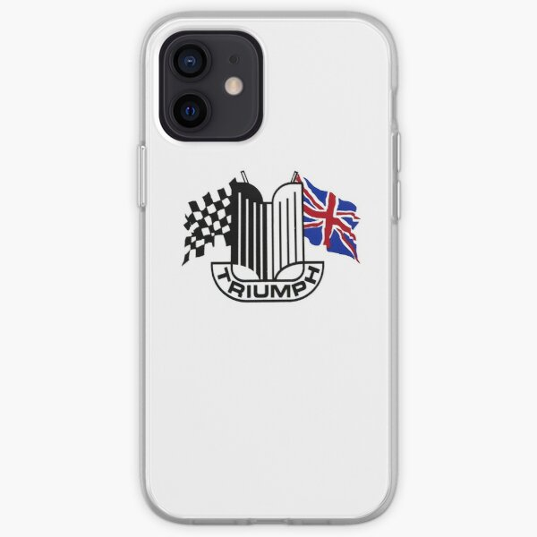 Triumph Shield with Checkered Racing and British Flag iPhone Soft Case