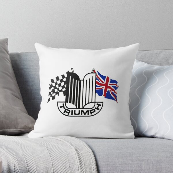 Triumph Shield with Checkered Racing and British Flag Throw Pillow
