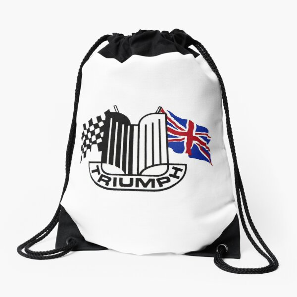 Triumph Shield with Checkered Racing and British Flag Drawstring Bag
