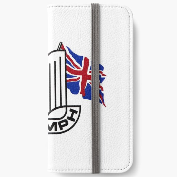 Triumph Shield with Checkered Racing and British Flag iPhone Wallet