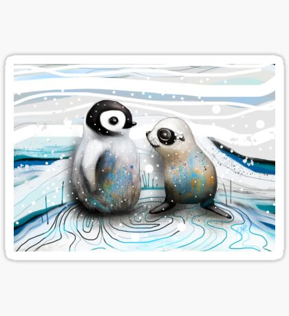 Penguin Chick and Baby Seal Sticker