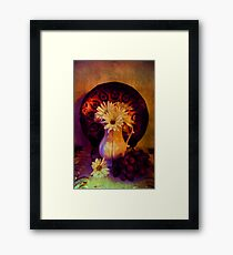 Still Life with Daisy flowers and grapes Framed Print