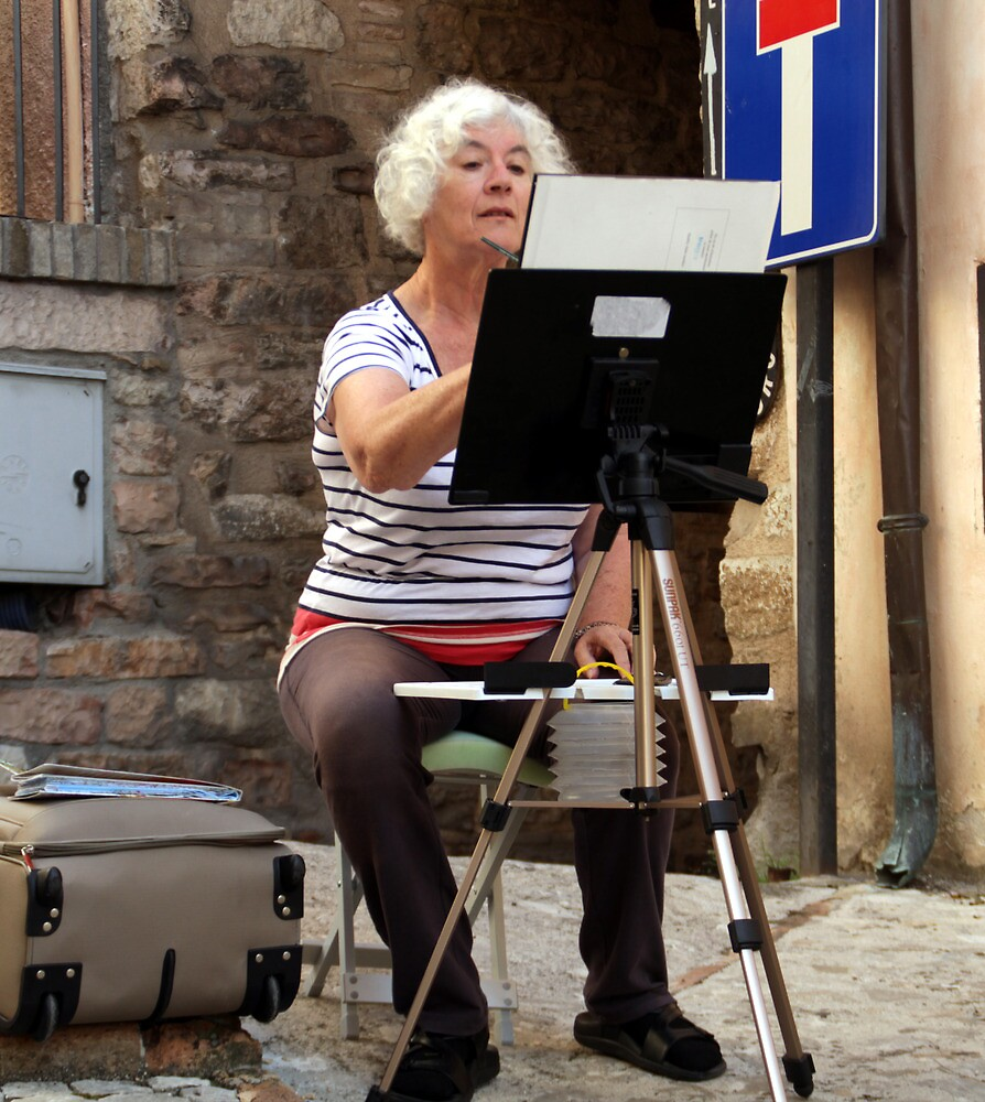 Painting in Spello, Italy by Freda Surgenor