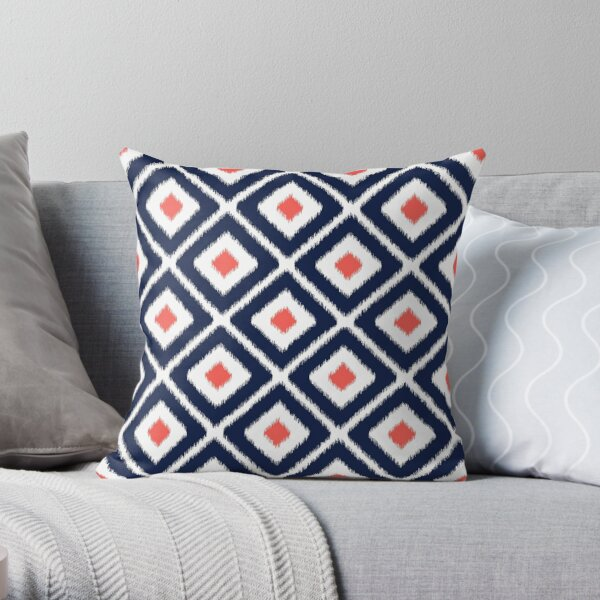 Navy blue and coral ikat diamond pattern Throw Pillow