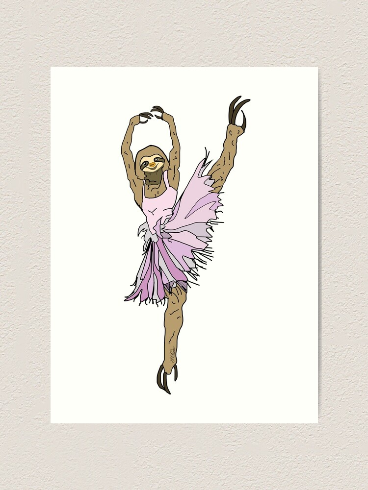 Alternate view of Sloth Ballerina Tutu Art Print