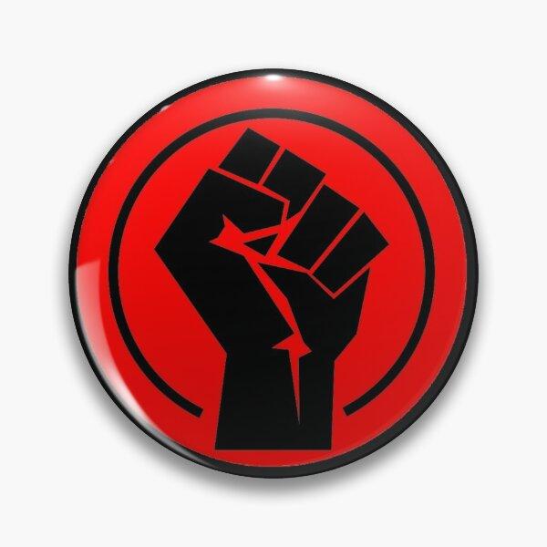 RED Black socialist fist Pin