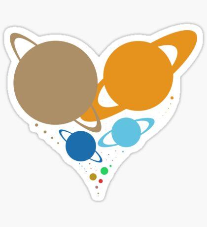 Solar System Heart (to scale) dark version Sticker