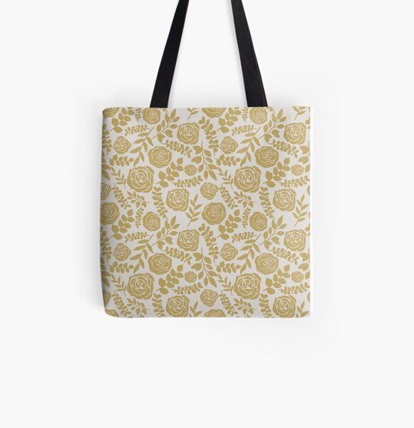 Gold Ink Floral Pattern All Over Print Tote Bag