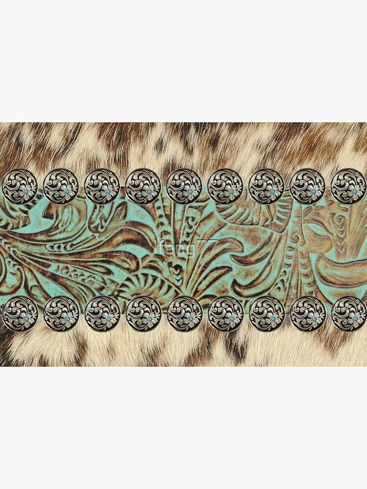 Rustic brown cowhide teal western country tooled leather  by lfang77