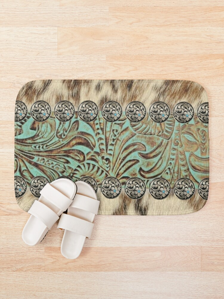 Alternate view of Rustic brown cowhide teal western country tooled leather  Bath Mat