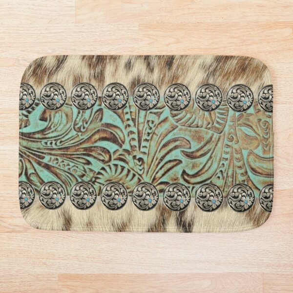 Rustic brown cowhide teal western country tooled leather  Bath Mat