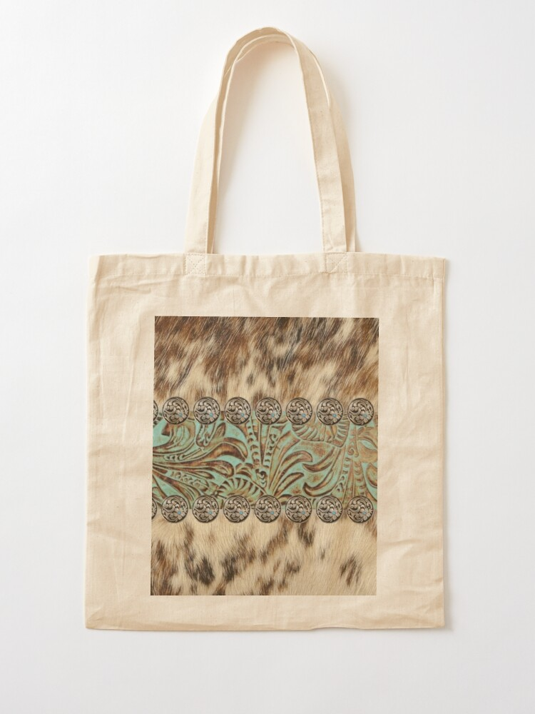 Alternate view of Rustic brown cowhide teal western country tooled leather  Tote Bag