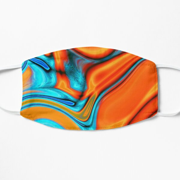 vivid modern Southwest hipster turquoise orange swirls Mask