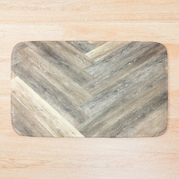 contemporary Caramel brown grey Beige farmhouse barn wood Bath Mat