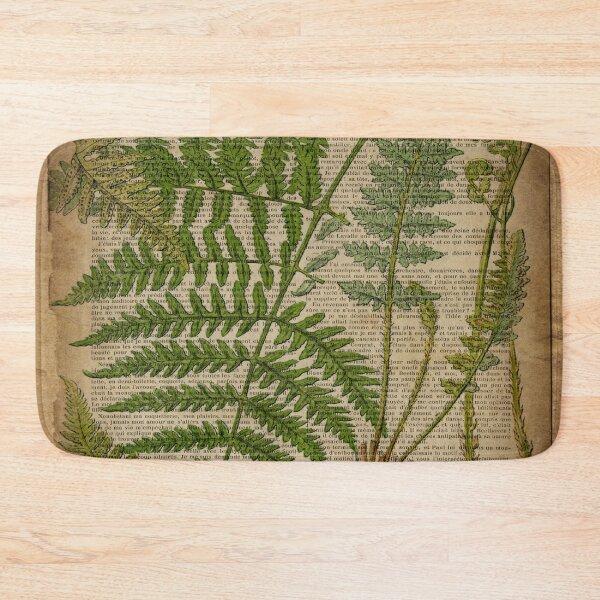 vintage foliage hipster botanical print fern leaves Bath Mat