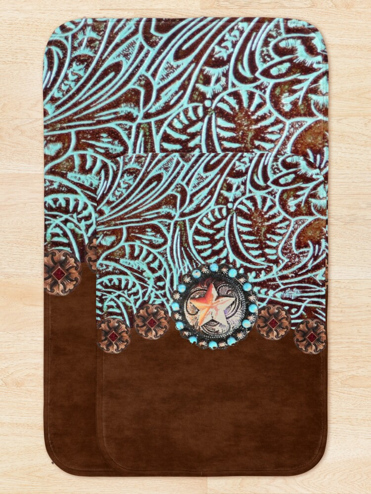 Alternate view of Primitive cowboy cowgirl western country brown turquoise leather  Bath Mat