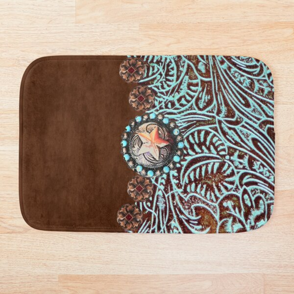 Primitive cowboy cowgirl western country brown turquoise  Bath Mat