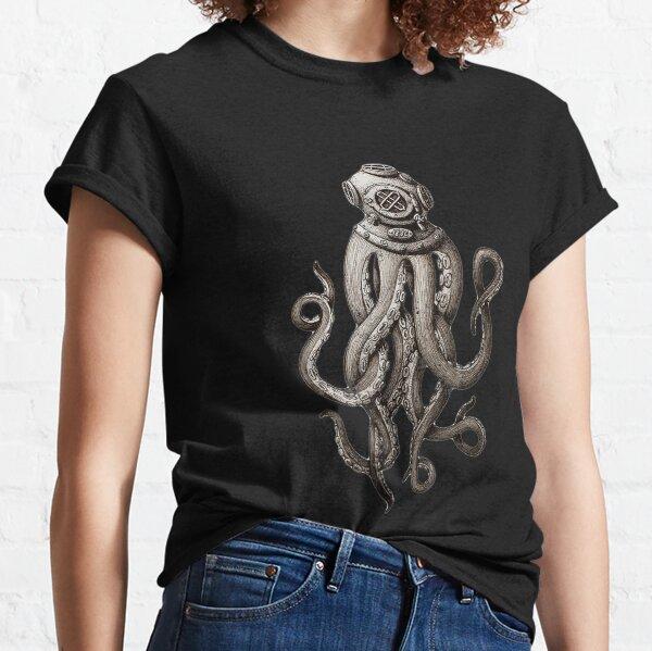 Retro SCUBA Diver Weird Octopus Design, Octopus Helmet Classic T-Shirt