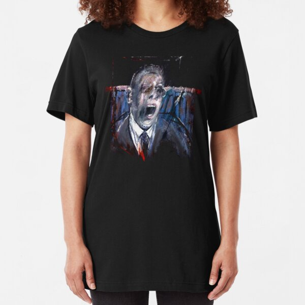 Francis Bacon Screaming Business man in suit office angst existential painting art lover gift t shirt Slim Fit T-Shirt