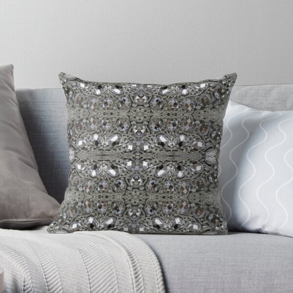 tendance assez glamour bling gris cristal strass argent Coussin