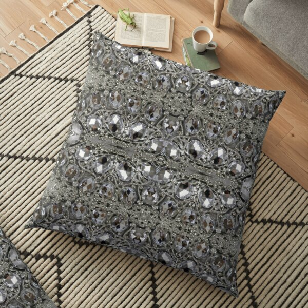 trendy pretty glamorous bling grey silver rhinestone crystal  Floor Pillow