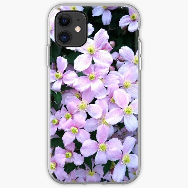 Pink clematis flowers iPhone Soft Case