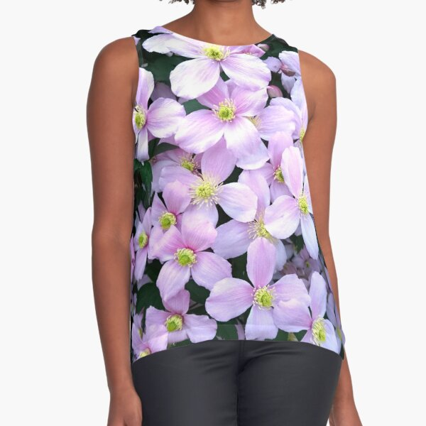 Pink clematis flowers Sleeveless Top