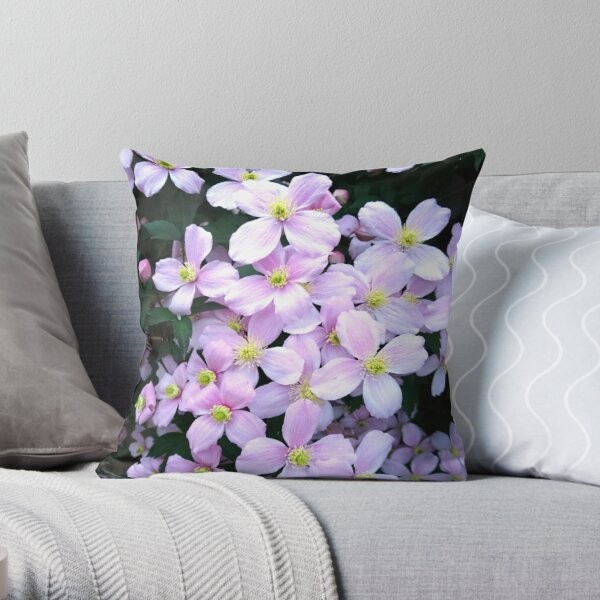 Pink clematis flowers Throw Pillow