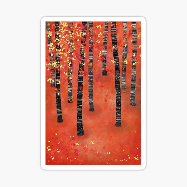 Birches - Autumn Woodland Abstract Landscape Sticker