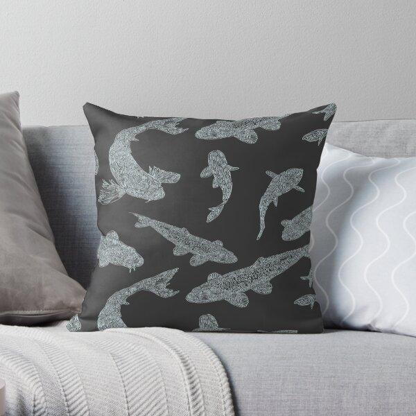 Swimming Koi Steel Grey Throw Pillow