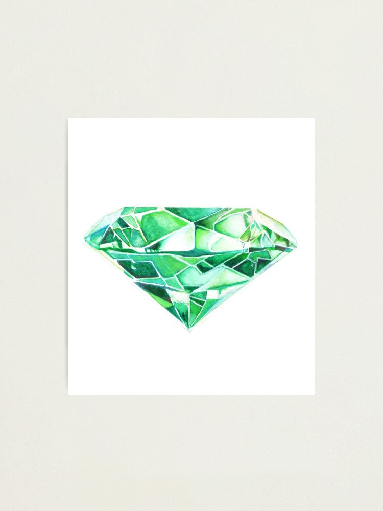 Alternate view of Green Emerald Watercolor  Photographic Print