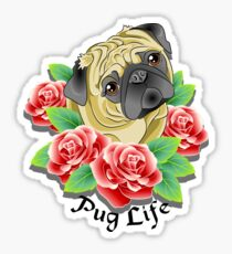 Pug Life Retro Rose Tattoo Dog Sticker