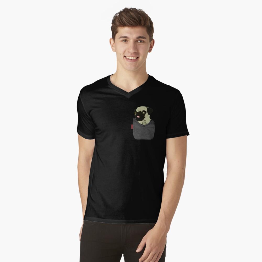 Camiseta para hombre de cuello en vPug You Pocket Delante