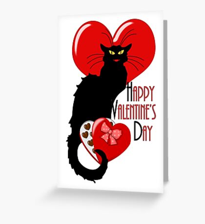 Happy Valentine's Day Le Chat Noir Greeting Card