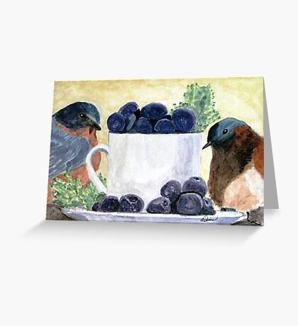 The Temptation Of Blueberries Greeting Card