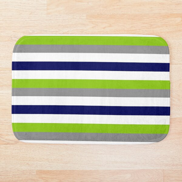 Broad Stripes in Lime Green, Bright Navy Blue, White, and Grey - Cheerful Minimalist Color Block Pattern Bath Mat