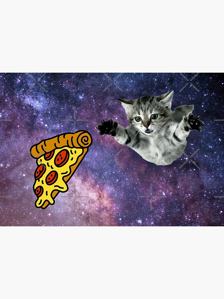 Galaxy Space Kitty Cat Pizza Face Mask by dgavisuals