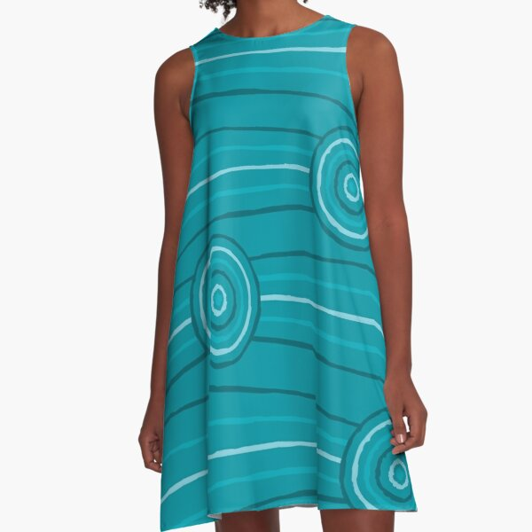 Reef Australian Aboriginal Line and Circle Painting A-Line Dress