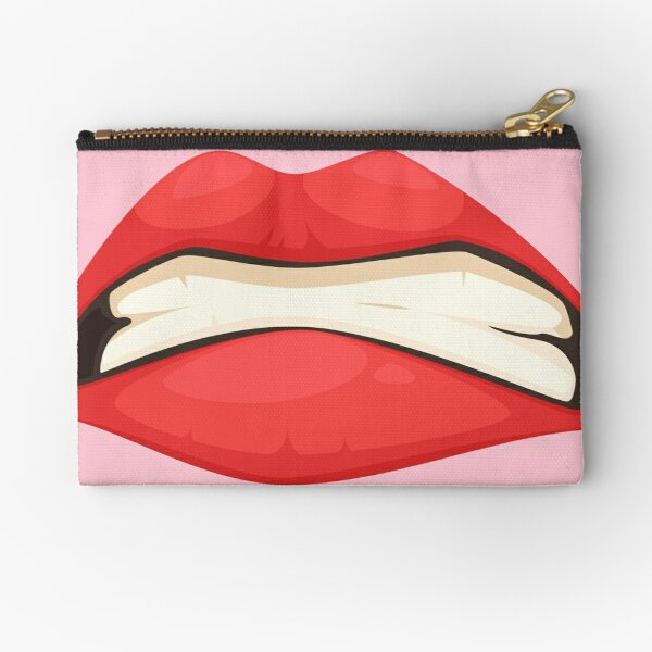 SUPER ANGRY WOMEN  MOUTH face mask cool desings. Zipper Pouch