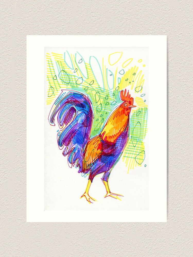 Alternate view of Rooster Drawing - 2011 Art Print