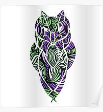 Owl Mosaic Green / Purple  Poster