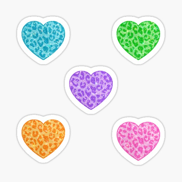 sparkly colorful hearts Sticker