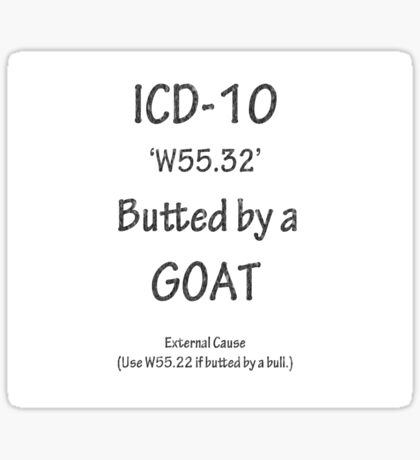 ICD-10 W55.32 Butted by a Goat Sticker