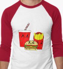 Cute fast food cartoon Men's Baseball ¾ T-Shirt
