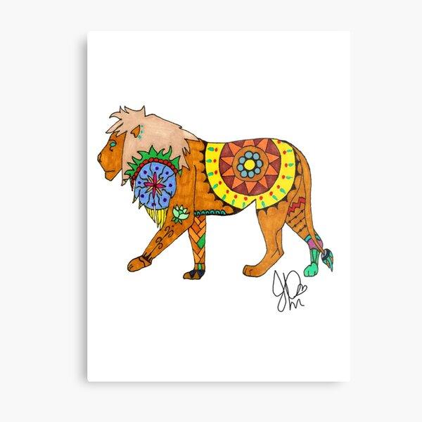 Lion in Sharpie  Metal Print