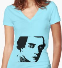 buster keaton . Women's Fitted V-Neck T-Shirt