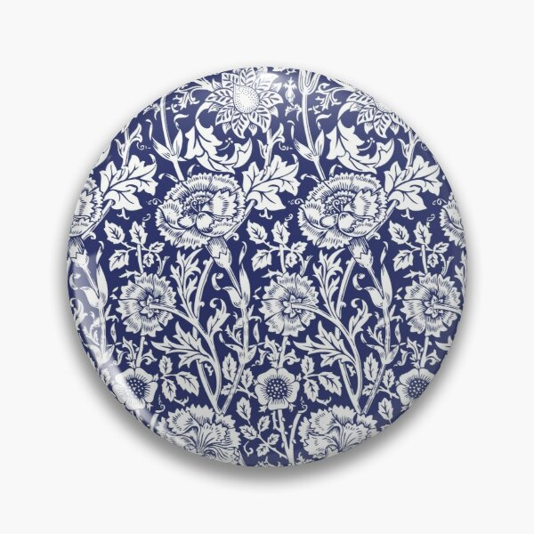 William Morris Carnations | Navy Blue and White Floral Pattern | Flower Patterns | Vintage Patterns | Classic Patterns | Pin
