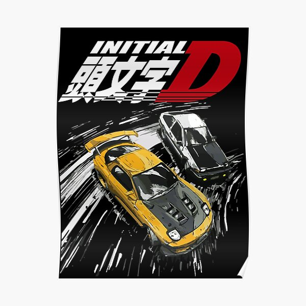 Initial D - Mountain Drift Racing Tandem AE86 vs FD rx-7 Poster