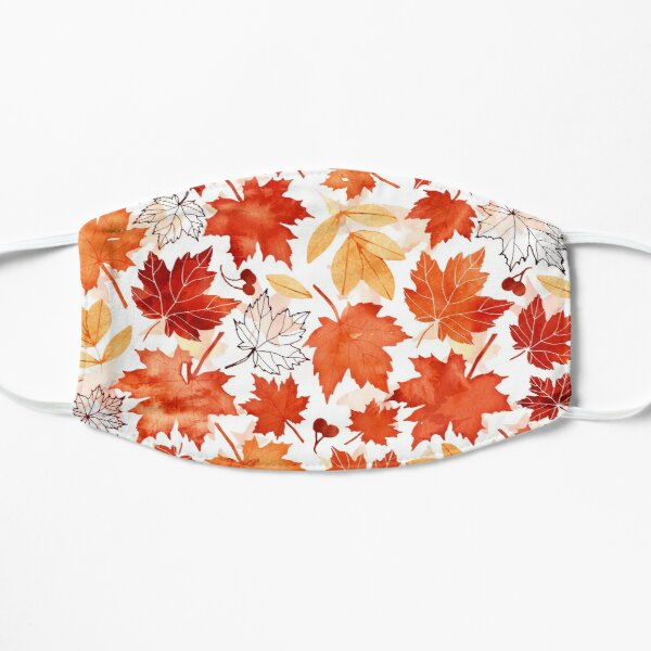 Autumn leaves and berries Flat Mask