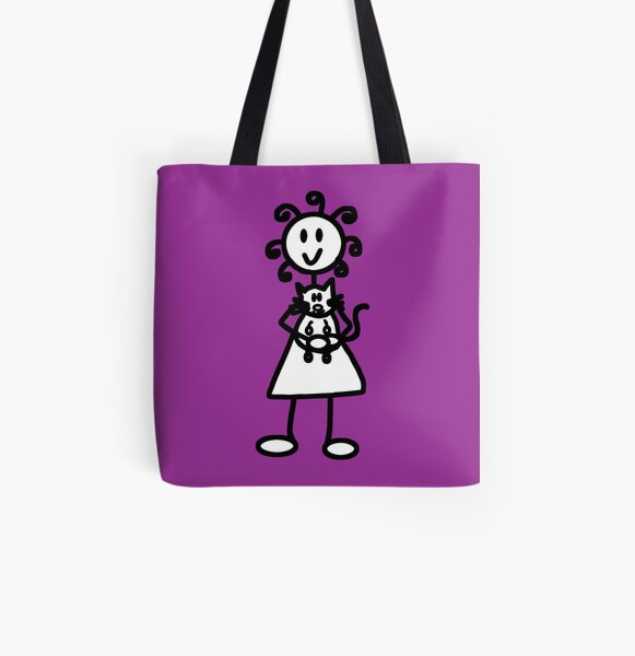 The girl with the curly hair - dark purple All Over Print Tote Bag